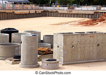 Precast Concrete in Construction Site Pit