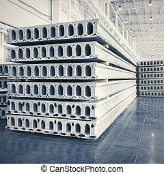 precast, losas, reforzado, concreto, taller, fábrica, pila