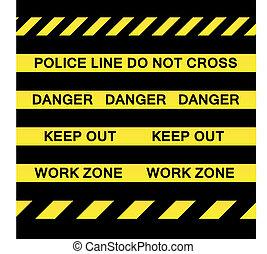 precaución, amarillo, cintas
