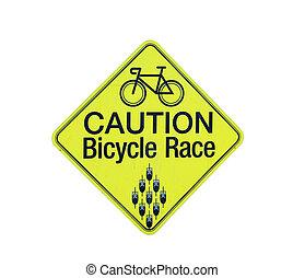 precaución, carrera, bicicleta, señal