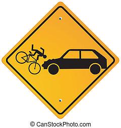 precaución, ciclistas