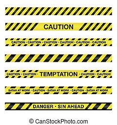 precaución, espiritual, cinta, ilustración