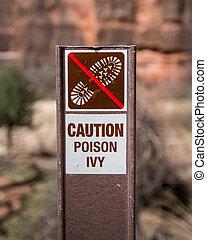 precaución, hiedra, veneno, señal