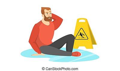 precaución, mojado, hombre, señal, caer, advertencia, floor.