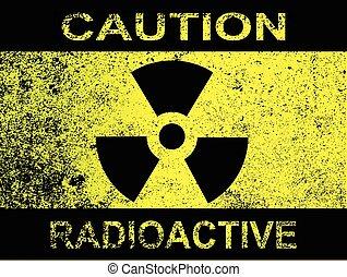 precaución, radioactivo, señal