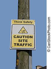 precaución, tráfico, sitio, señal
