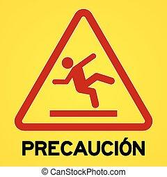 precaucion, símbolo, amarillo, rojo