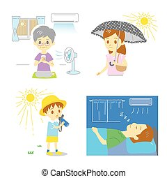 precaution against hot weather, elderly people and kids, woman, man, vector file