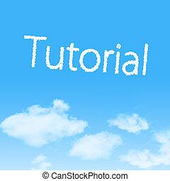 preceptoral, nube, icono, con, diseño, en, cielo azul, plano de fondo