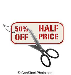 precio, 50%, de, mitad