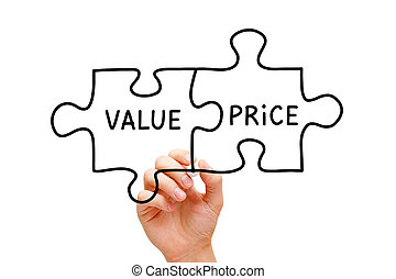 precio, concepto, rompecabezas, valor