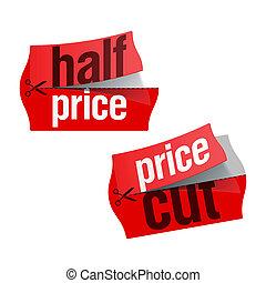 precio, corte, pegatinas, mitad