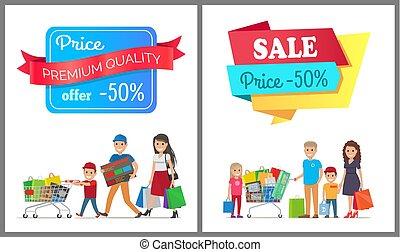 precio de venta, 50, de, promo, etiqueta, gente, en, bandera
