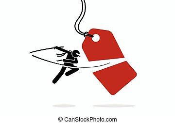 precio, half., etiqueta, cuchillada, cortes, ninja