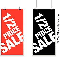 precio, mitad, muestra de la venta