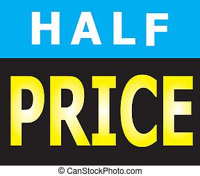 precio, mitad, promoción, etiqueta