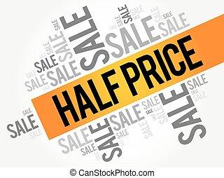 precio, palabras, venta, nube, mitad