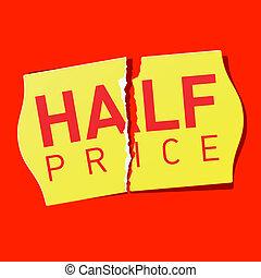 precio, pegatina, mitad