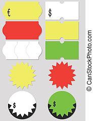 precio, vector, etiqueta, set., ilustración