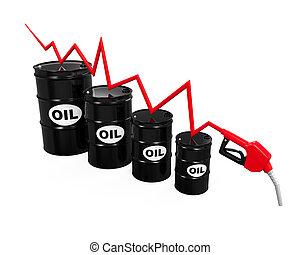 precios, goteante, ilustración, aceite