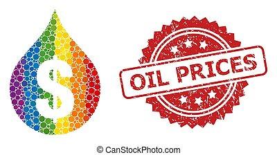 precios, mosaico, aceite, precio, sello, gota, espectro, ...