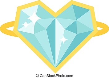 precioso, anillo, con, piedra, coloreado, gemas, aislado, blanco, fondo.