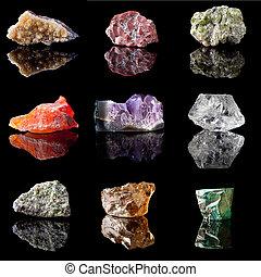 precioso, birthstones, semi, piedras preciosas