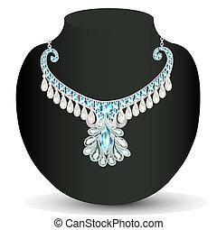 precioso, colar, casório, pedras, mulher