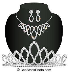 precioso, colar, diadema, pedras, brincos, branca