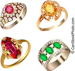 precioso, conjunto, piedras, vendimia, anillo
