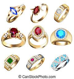 precioso, jogo, pedras, anel, branca
