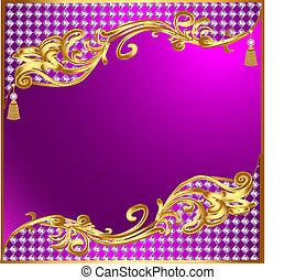 precioso, ornamentos, ouro, fundo, tassels, pedras