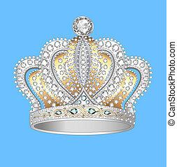 precioso, oro, plata, piedras, corona