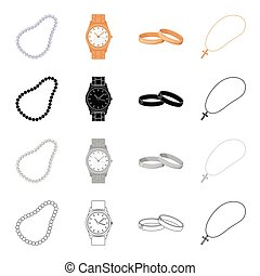 Precious beads, accessory wristwatches, engagement rings, cross and chain. Jewelery and Accessories set collection icons in cartoon black monochrome outline style vector symbol stock illustration web.