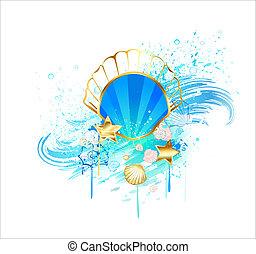 Precious Blue Seashell - precious, jewelry, blue seashell on...