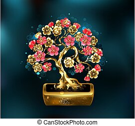 Precious bonsai - Sakura jewelry bonsai with golden trunk ...