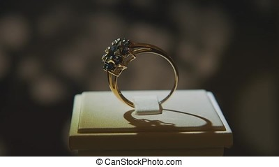 Precious diamond rings. Fine luxury diamond jewellery window...