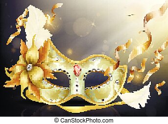 Precious face carnival mask realistic vector