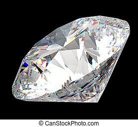 Precious gem: large diamond over black background