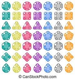 Precious gems Flat icons set