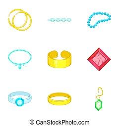 Precious jewels icons set, cartoon style