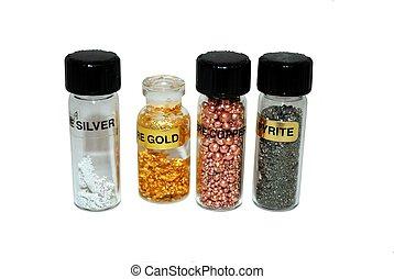 Precious metals, consisting of silver, gold, copper and pyrite.