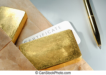 Processing and global trading of precious metals. Gold bars, certificate, pen and paper pack. Closeup.