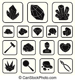 Precious Minerals black icons in set collection for design. Jeweler and Equipment vector symbol stock web illustration.