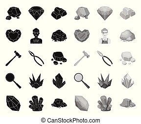 Precious Minerals black. mono icons in set collection for design. Jeweler and Equipment vector symbol stock web illustration.
