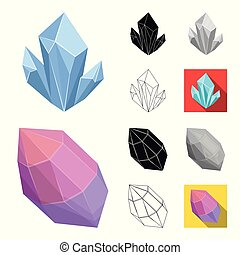Precious Minerals cartoon, black, flat, monochrome, outline icons in set collection for design. Jeweler and Equipment vector symbol stock web illustration.