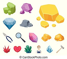 Precious Minerals cartoon icons in set collection for design. Jeweler and Equipment vector symbol stock web illustration.