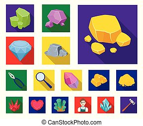 Precious Minerals flat icons in set collection for design. Jeweler and Equipment vector symbol stock web illustration.