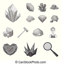 Precious Minerals monochrome icons in set collection for design. Jeweler and Equipment vector symbol stock web illustration.
