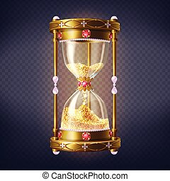 Precious sand clock with golden sand vector